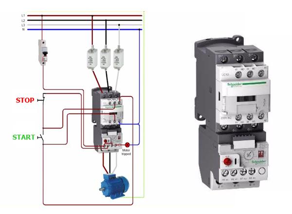 Mạch bảo vệ động cơ bằng Rơ le nhiệt và Contactor